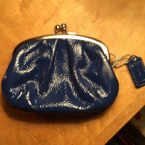 Coach peacock blue patent leather coin/card purse